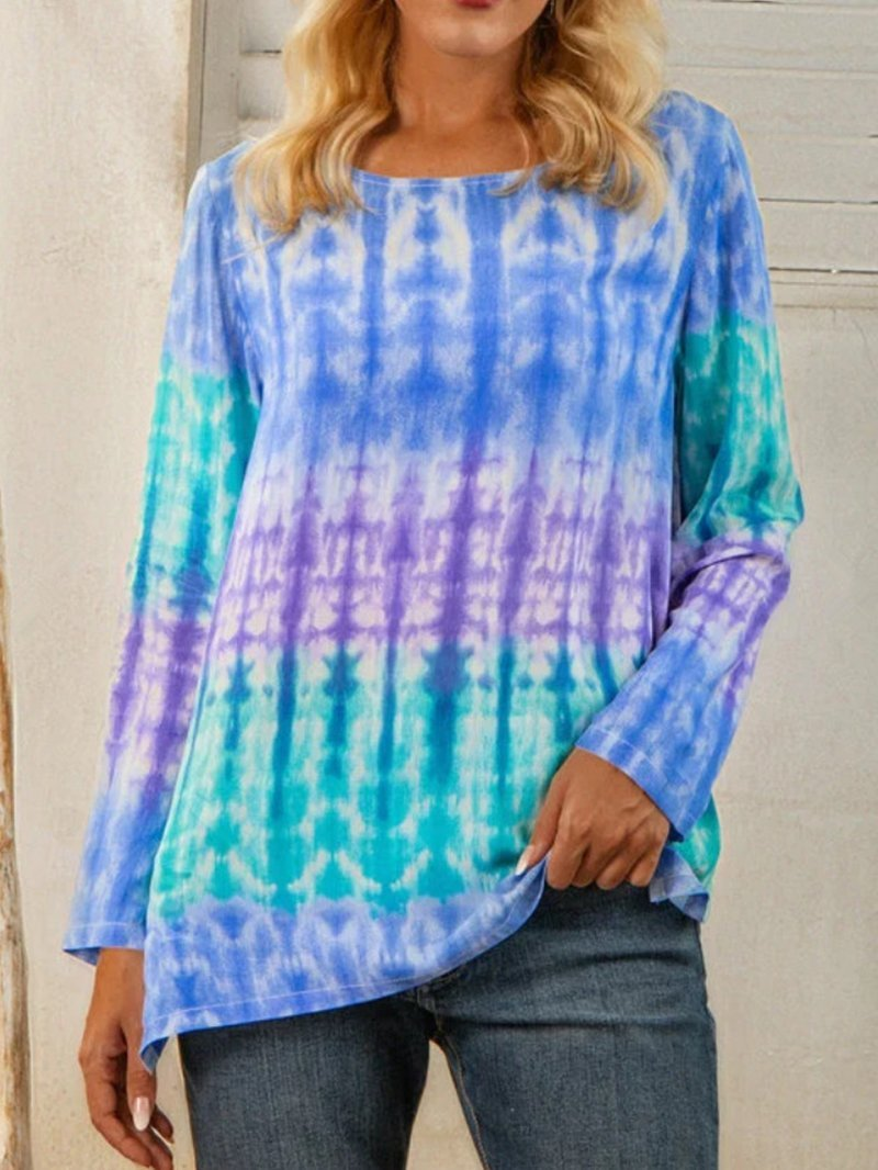 Printed Round Neck Long-sleeved Split Casual T-shirt