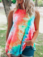 2020 Summer New Women Round Neck Tie-dye Printing Vest T-shirt