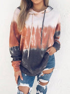 Fashion Rainbow Gradient Print Hooded Long Sleeve Sweatshirt