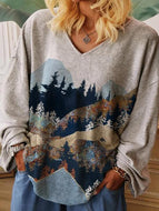 Landscape Print Relaxed V-Neck Sweatshirt Top