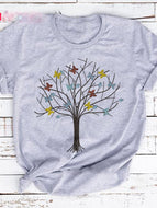 Painted Color Tree Short-sleeved Printed T-shirt