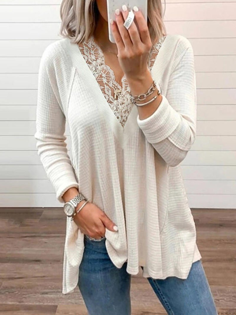 Women's Solid Color Lace-trimmed Long-sleeved Tops