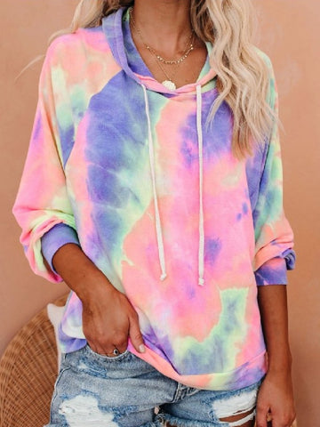 2020 Autumn & Winter Women Tie-dye Printed Gradient Color Hooded Long Sleeve T-shirt