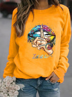 Lips round neck long sleeve print top