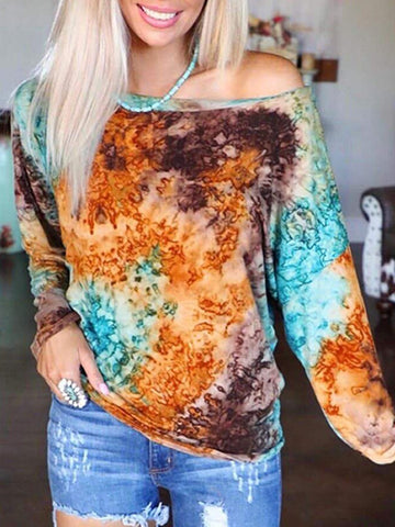 Fashion Tie-dye Printed Long-sleeved Top