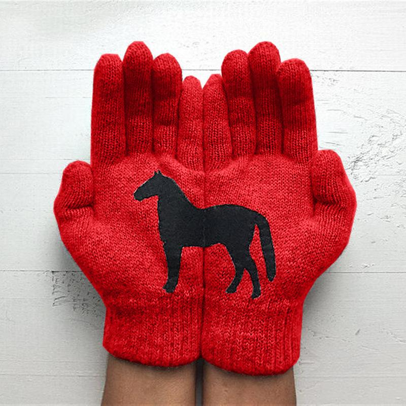Autumn Winter Outdoor Warm and Cold Thickened Dark Horse Printing Gloves