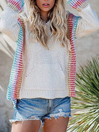Striped and Patchwork Hooded Long-sleeved Pullover Loose-fitting Sweater
