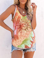 Dyed clouds of sun flower sleeveless vest T-shirt