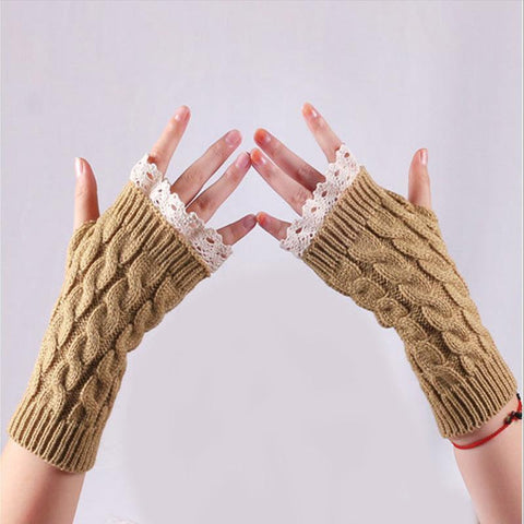 Ladies Warm Knitted Half Finger Gloves