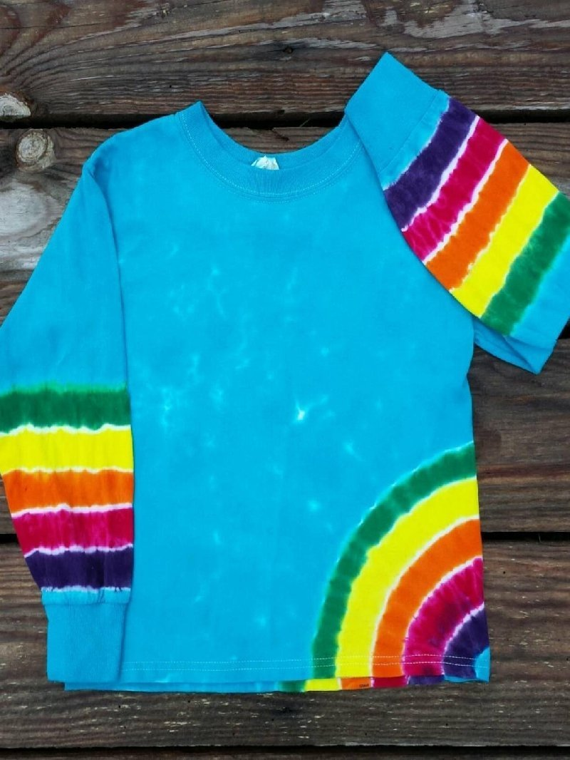Casual Tie-dye Printed Round Neck Long Sleeve Top