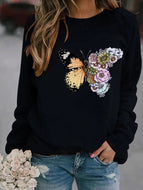 Butterfly Floral Print Crew Neck Sweatshirt