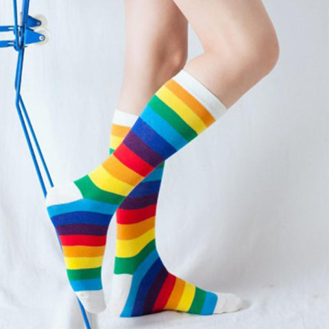 Rainbow Thigh Socks