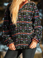 Autumn Winter Fashion Printed Loose Stand Collar Long Sleeve Sweatshirt