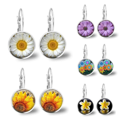 Sunflower Time Gem Earrings Orchid Daisy Earrings