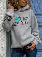 Fall and Winter Abstract Pattern Hooded Sweatshirts-Grey - Love