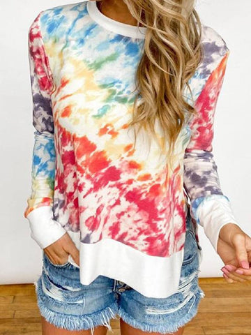 2020 Autumn & Winter Women Tie-dye Printed Gradient Color Round Neck Long Sleeve T-shirt