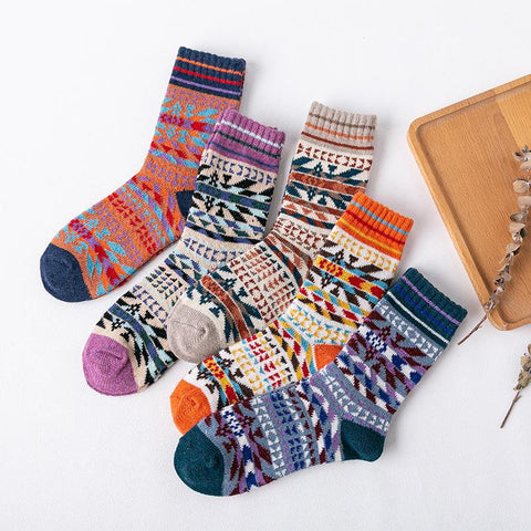 Ethnic Printed Thick Warm Ladies Wool Socks