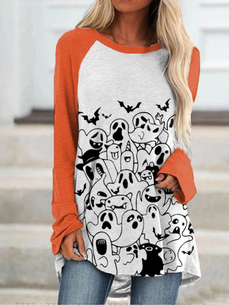 Women's Halloween hand-painted print color matching T-shirt
