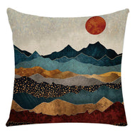 Home Furnishing Ink Landscape Painting Linen Pillowcase