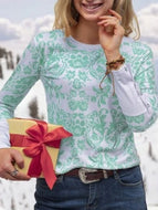 Casual Print Round Neck Tops