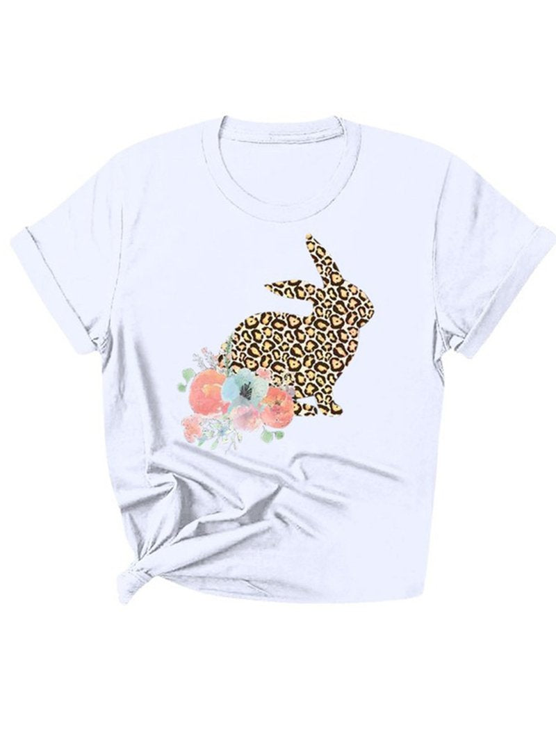 Ladies Easter Leopard Rabbit Flower Print Short Sleeve T-Shirt