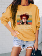 Casual Letter Print Long Sleeve Round Neck Sweatshirt