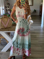 Beach Resort Tie-up Print Vest Dress