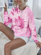 Women's Tie-dye Printed Long-sleeved Round Neck Sweater