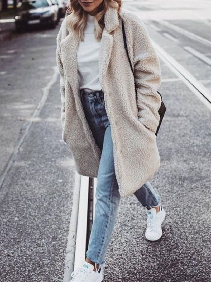 Thick Long-sleeved Lamb Wool Coat
