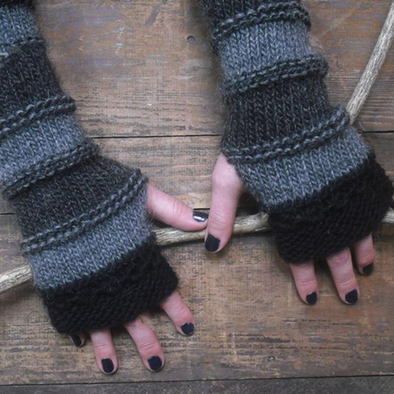 Contrast Color Autumn and Winter Finger Gloves