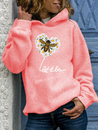 Women's Plus Size Long-sleeved Loose Bee Love Printed Hooded Sweater