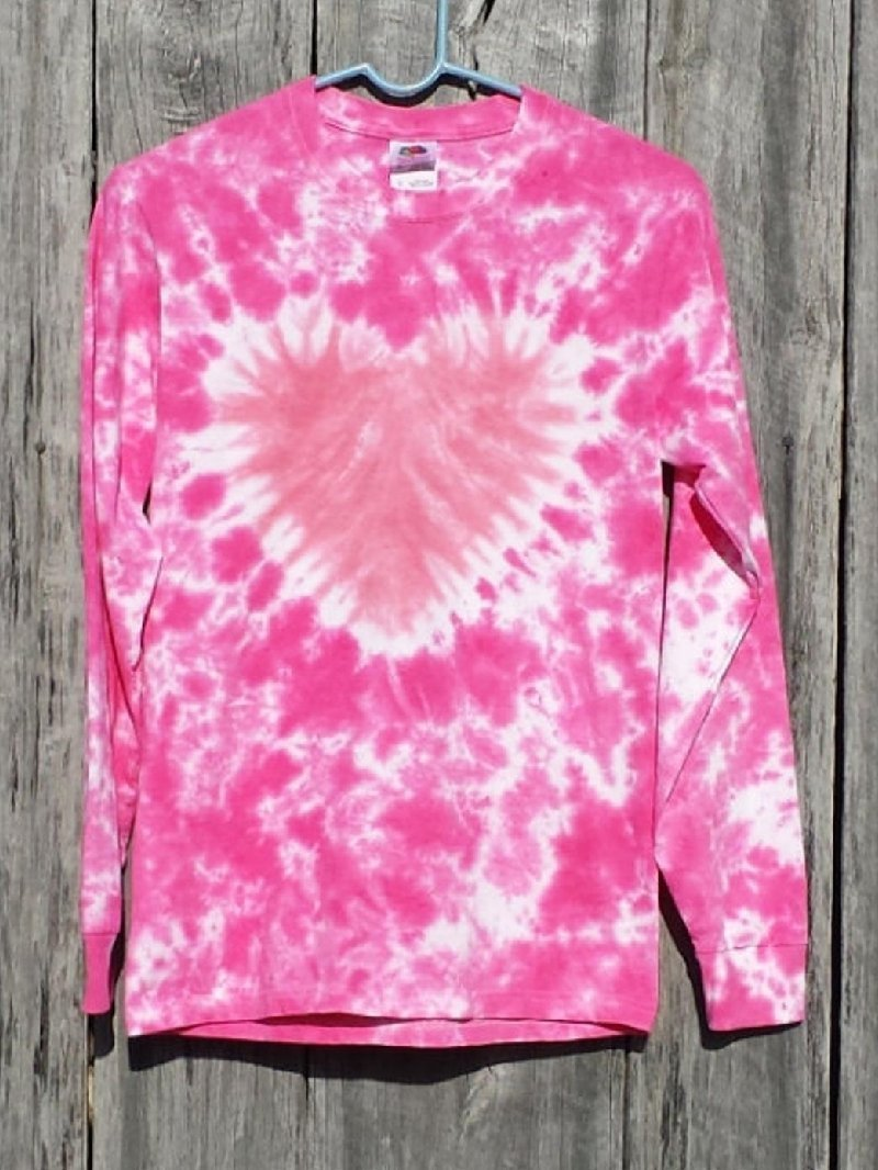 Casual Tie-dye Heart-shaped Print Round Neck Long Sleeve Top