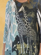 Giraffe Print Long Sleeve T-shirt Top