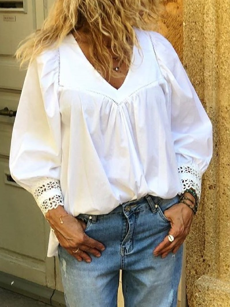 Casual Solid Stitching V-neck Long-sleeved Shirt Top