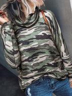 Long Sleeve Camouflage Print High Neck Pullover Sweater