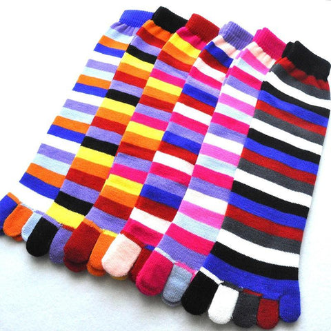 Colored Striped Five-finger Socks