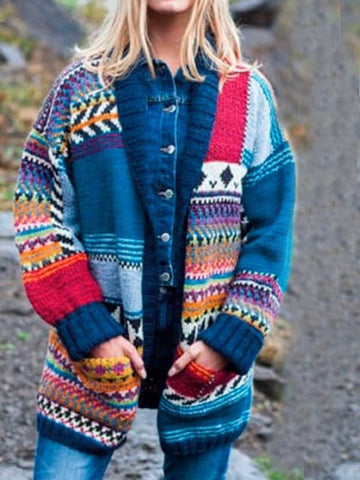 Fashion Color-blocking Stitching Sweater