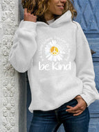 Women's Plus Size Long-sleeved Loose Sunflower Letter Print Hooded Sweatshirt