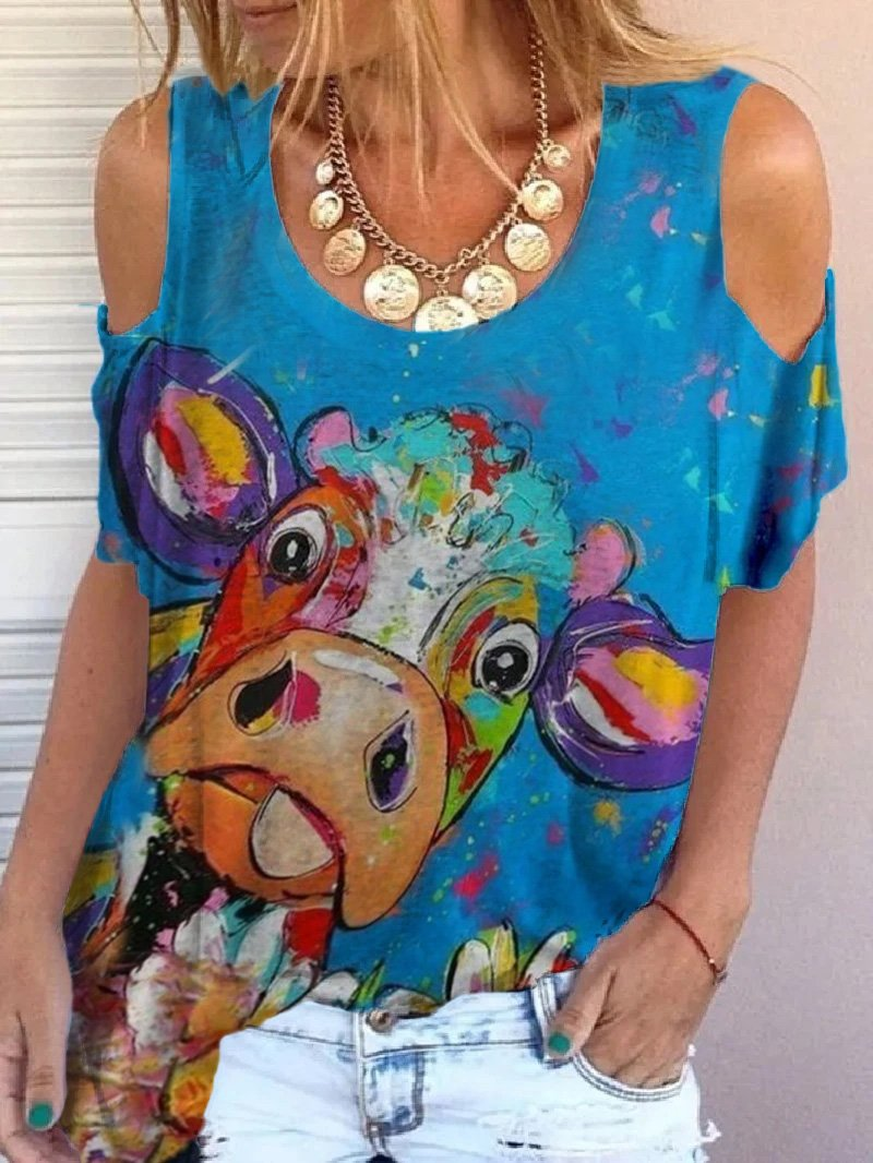Strapless Cow Animal Print Short-sleeved T-shirt