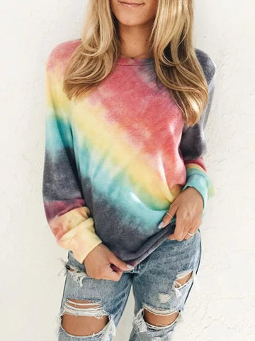 Fall 2020 Gradient Printed Crew Neck Long Sleeve T-Shirt Top
