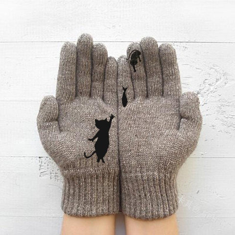 Autumn Winter Warmth Thick Kitten Fish Print Gloves