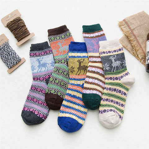 Christmas Fawn Thickened Warm Ladies Wool Socks
