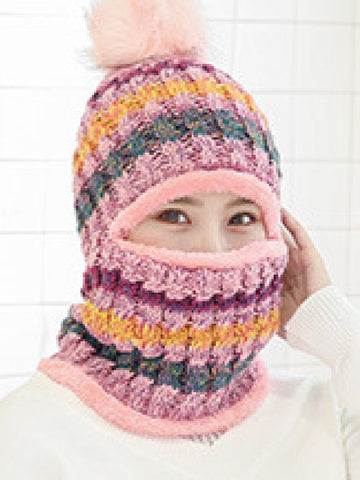 Knitted Wool Clip Color Hedging and Woolen Cap