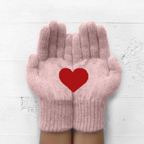 Autumn Winter Warm Thick Heart-shaped Printing Split Finger Gloves