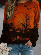 Women Casual Happy Halloween Pumpkin Printing Blouse