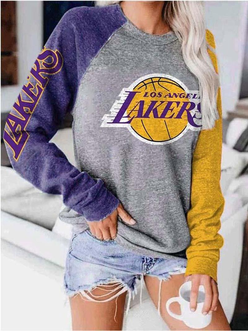 Ladies Los Angeles LAKERS Fan Print Sweatshirt