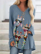 Plus Size Giraffe Print Long Sleeve Casual Sweatshirt