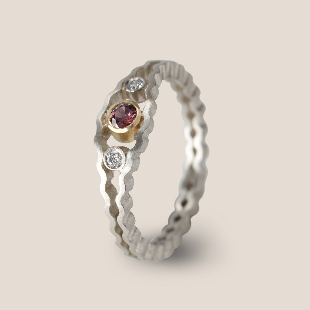 Strata Three Stone Ring - Ruby
