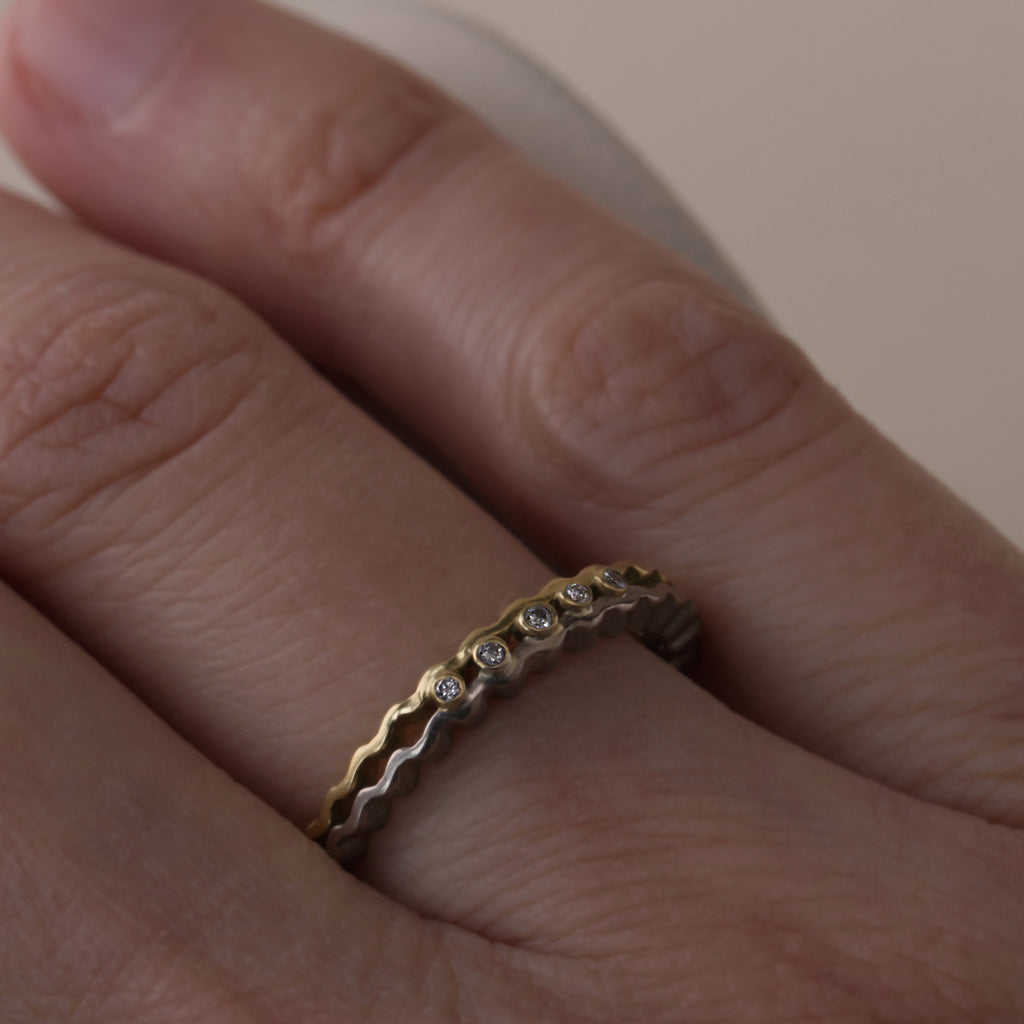 Strata Ring - Two Tone Gold with Diamonds