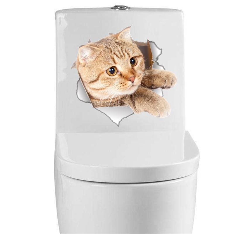 Amazing 3d cat toilet sticker - wall stickers